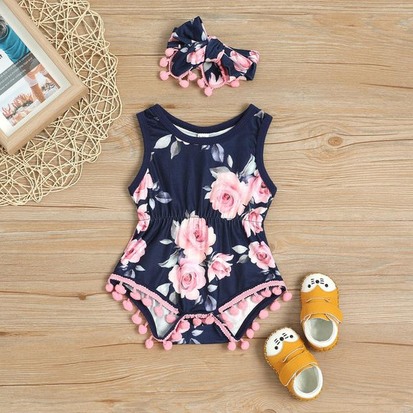 Navy Infant Girl Romper w/Matching Headband