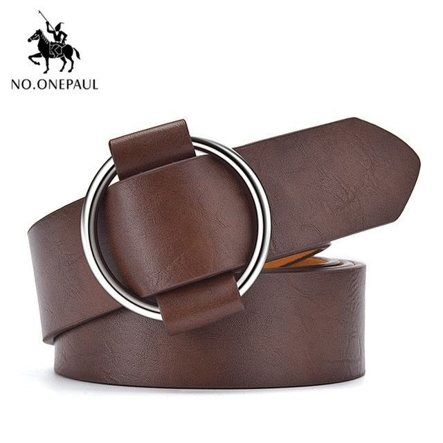 NO.ONEPAUL women belt Genuine Leather New Punk style fashion Pin Buckle jeans Decorative Belt Chain luxury brand belts for women