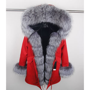 Russian  Real Fox Fur winter coat filling with pure cotton