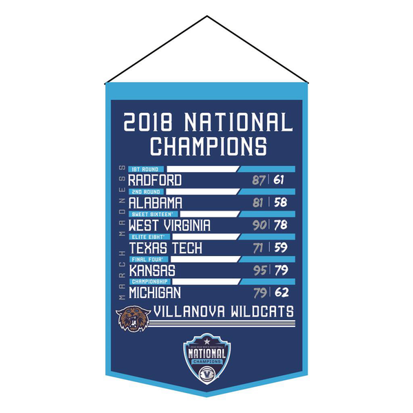 2018 NCAA Villanova Basketball Champs Printed banner