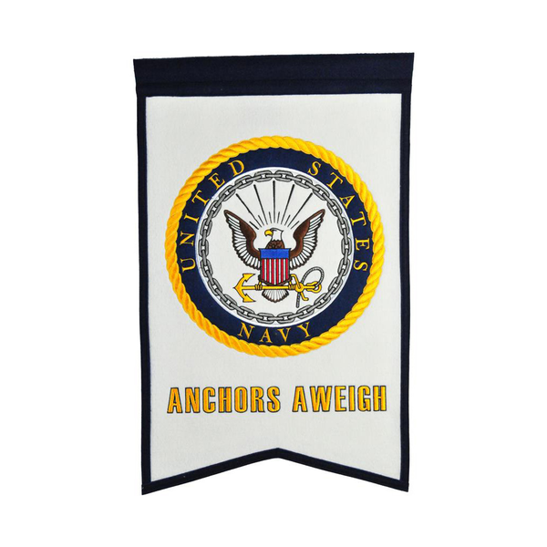 US NAVY Crest White Banner