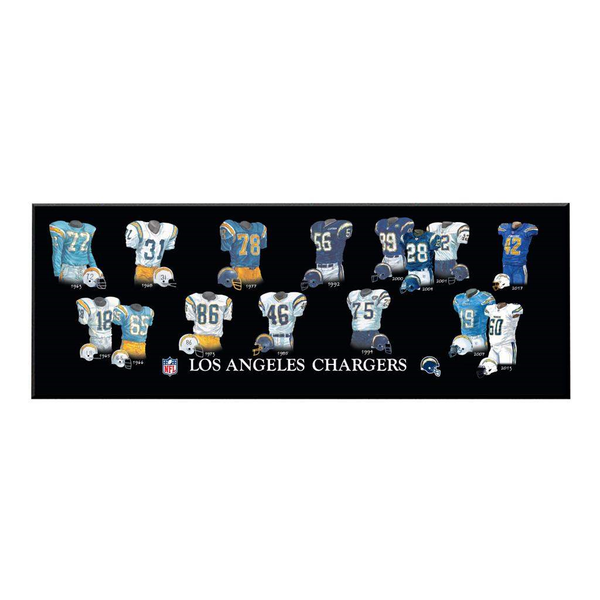 Los Angeles Chargers Legacy Uniform Plaque