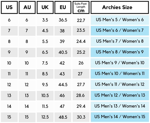 Archies Women's Size Guide