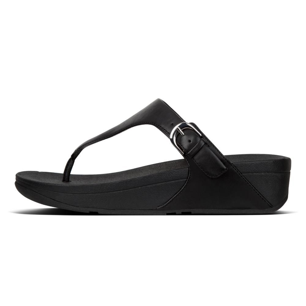 FitFlop Skinny Leather Black Toe-Post