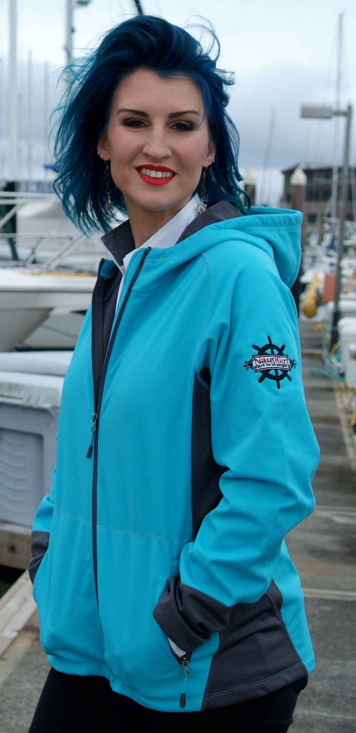NEW! NautiGirl Vertical Hooded Soft Shell Jacket