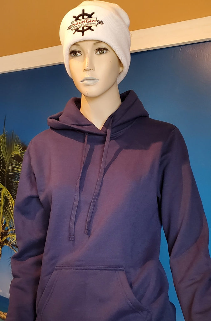 Soft Navy Pullover Hoodie with wheel logo on Sleeve