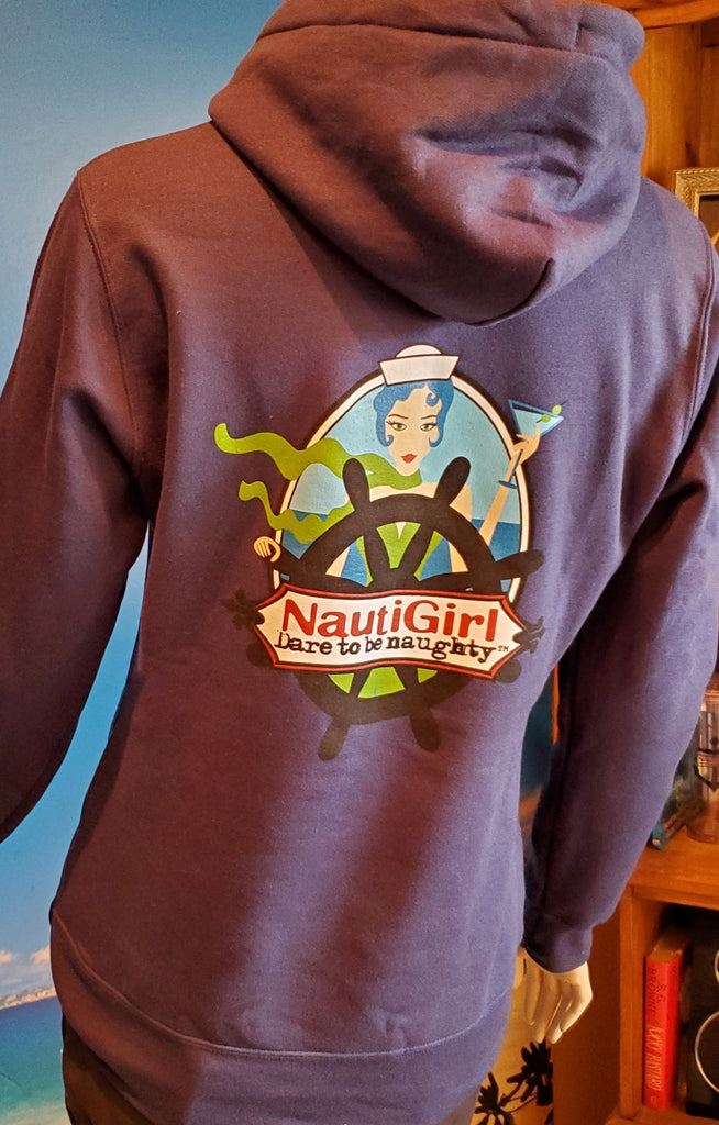 Soft Navy Pullover Hoodie with NautiGirl on the Back