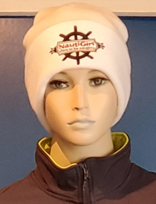 NEW! Nautigirl White Fleece Lined Beanie