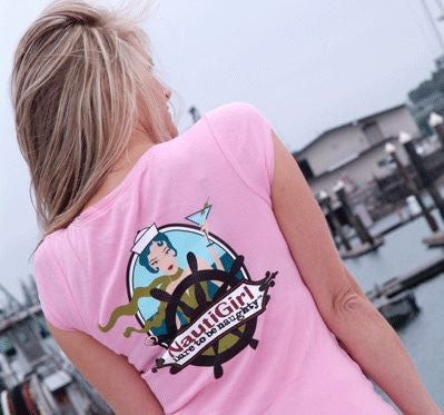 NautiGirl cap sleeve Tee with Full girl on back