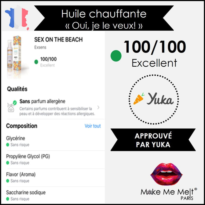 huile-massage-chauffante-sex on the beach-exsens-note Yuka-make-me-melt-paris