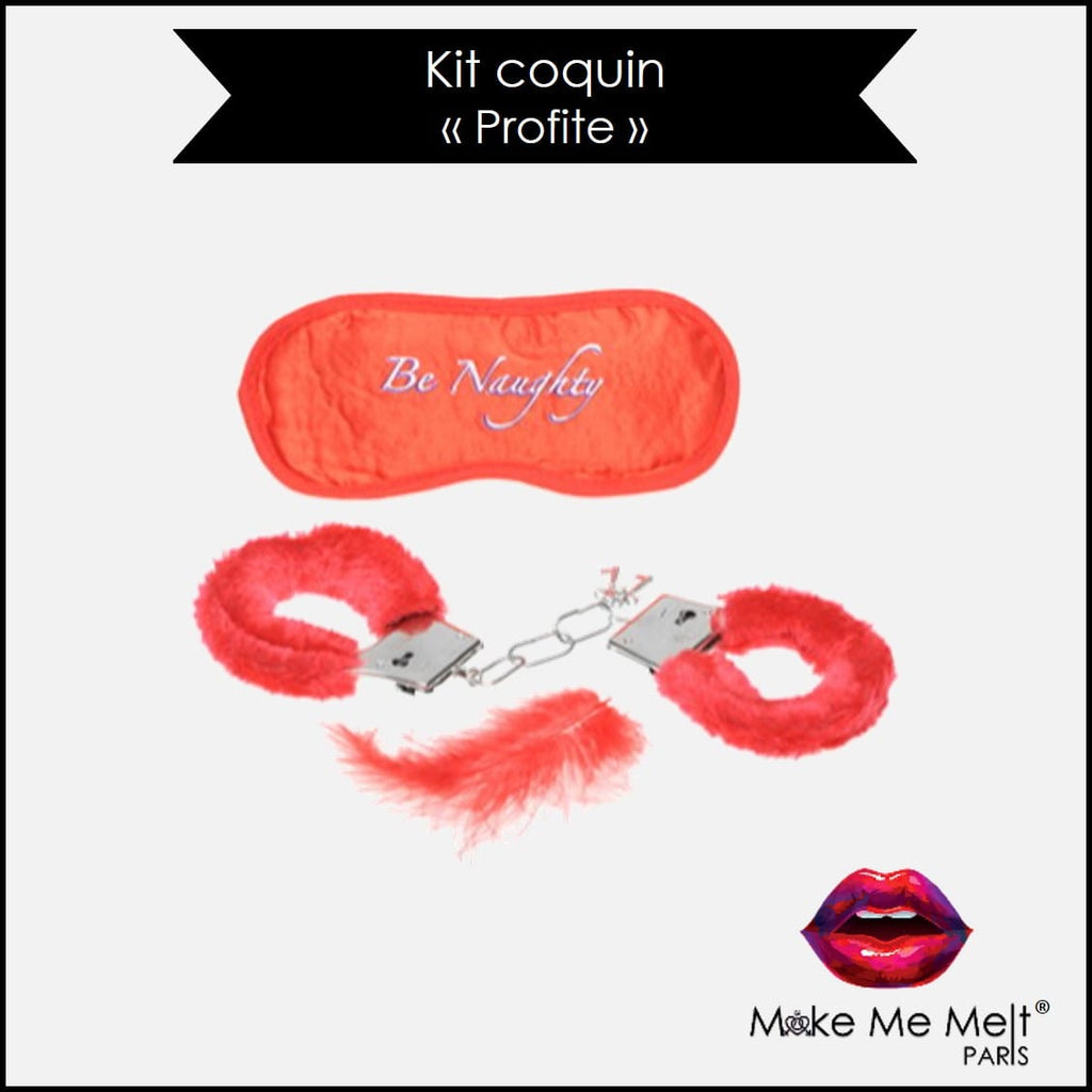 kit-coquin-masque-menottes-plumes-rouge-fantasy fun set-fun novelties-produit-vue-face-make-me-melt-paris