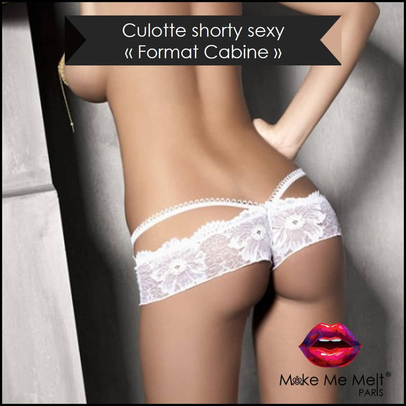 lingerie-sexy-shorty-blanc-touch me tanga-mannequin-vue-dos-make-me-melt-paris