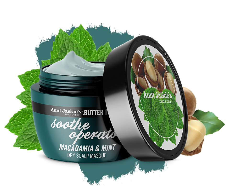 Aunt Jackie's Soothe Operator – Macadamia & Mint Dry Scalp Conditioning Masque 8oz