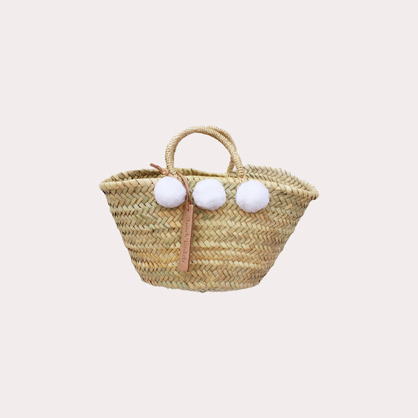 Mini Bridal White Pom-Pom Bag
