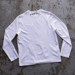 Ton Up Clothing 'Fast and Loud' Mens Vintage White Long Sleeve Waffle Top