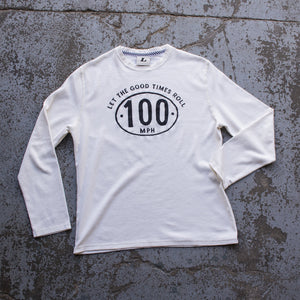 Ton Up Clothing 'Speedhead' Mens Vintage White Long Sleeve Waffle Top