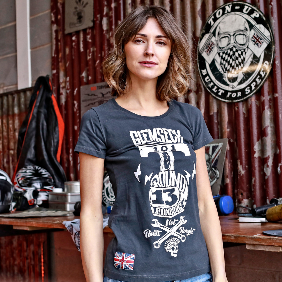 Ton Up Clothing 'Glemseck Pistonhead' Ladies Black T-Shirt