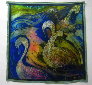 Silk Satin Square Printed The Children of Lir Green