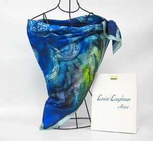 Silk Satin Printed Square The Swans Blue and Green