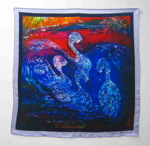 Load image into Gallery viewer, Silk Satin Printed Square The children of Lir Red