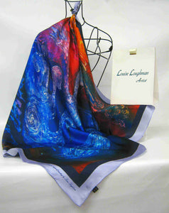 Silk Satin Printed Square The children of Lir Red