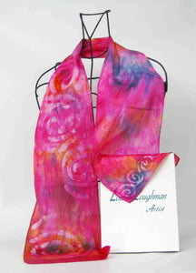 Silk Satin Neck scarf Celtic Pink Surprise