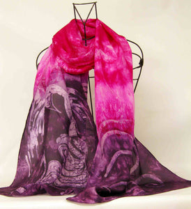 Large Silk Shawl The Magenta Swans