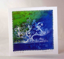 Load image into Gallery viewer, Hand Made Card The Tree of Life Blue Green