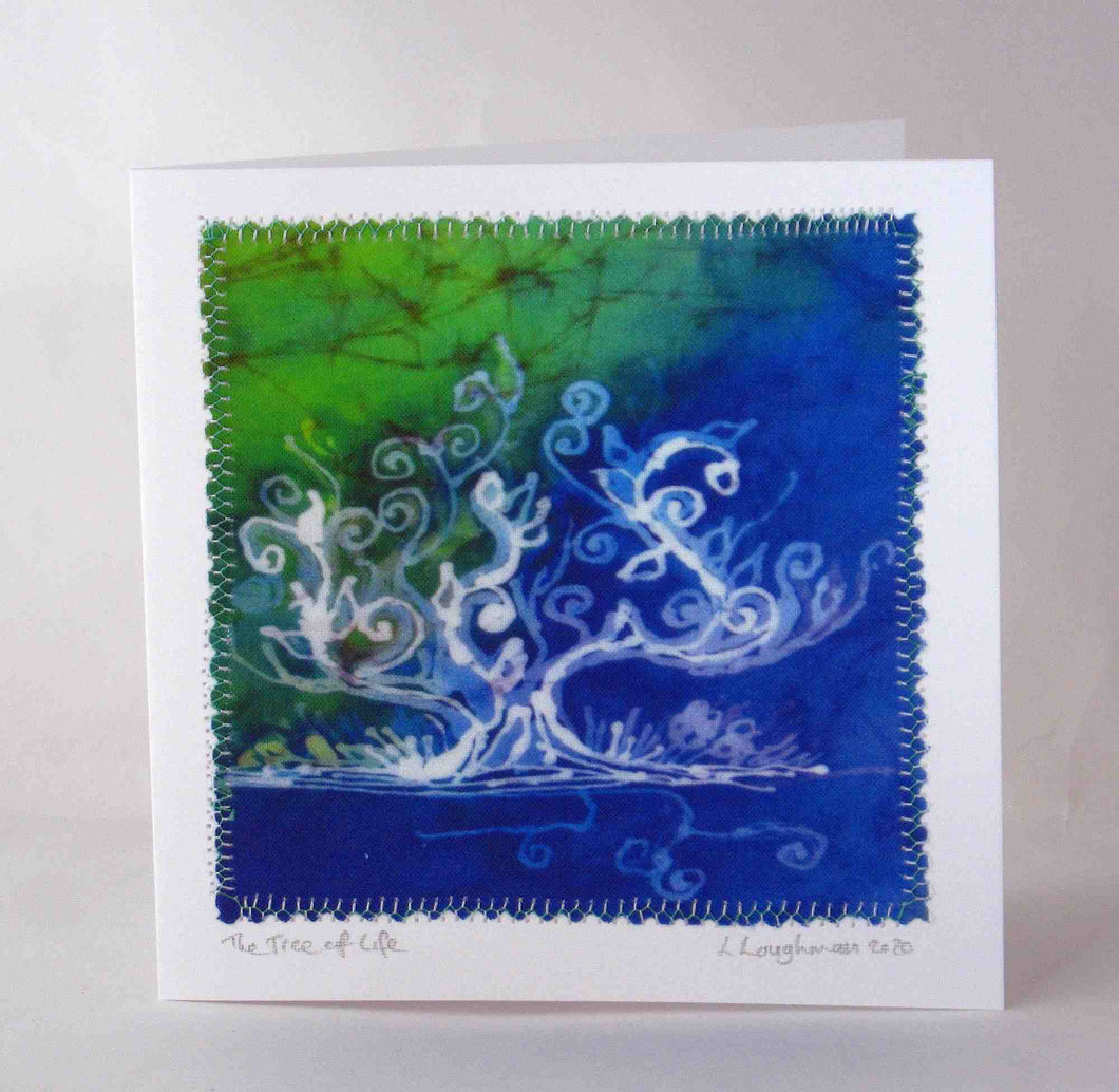 Hand Made Card The Tree of Life Blue Green