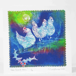 Hand made Card Three French Hens Blue