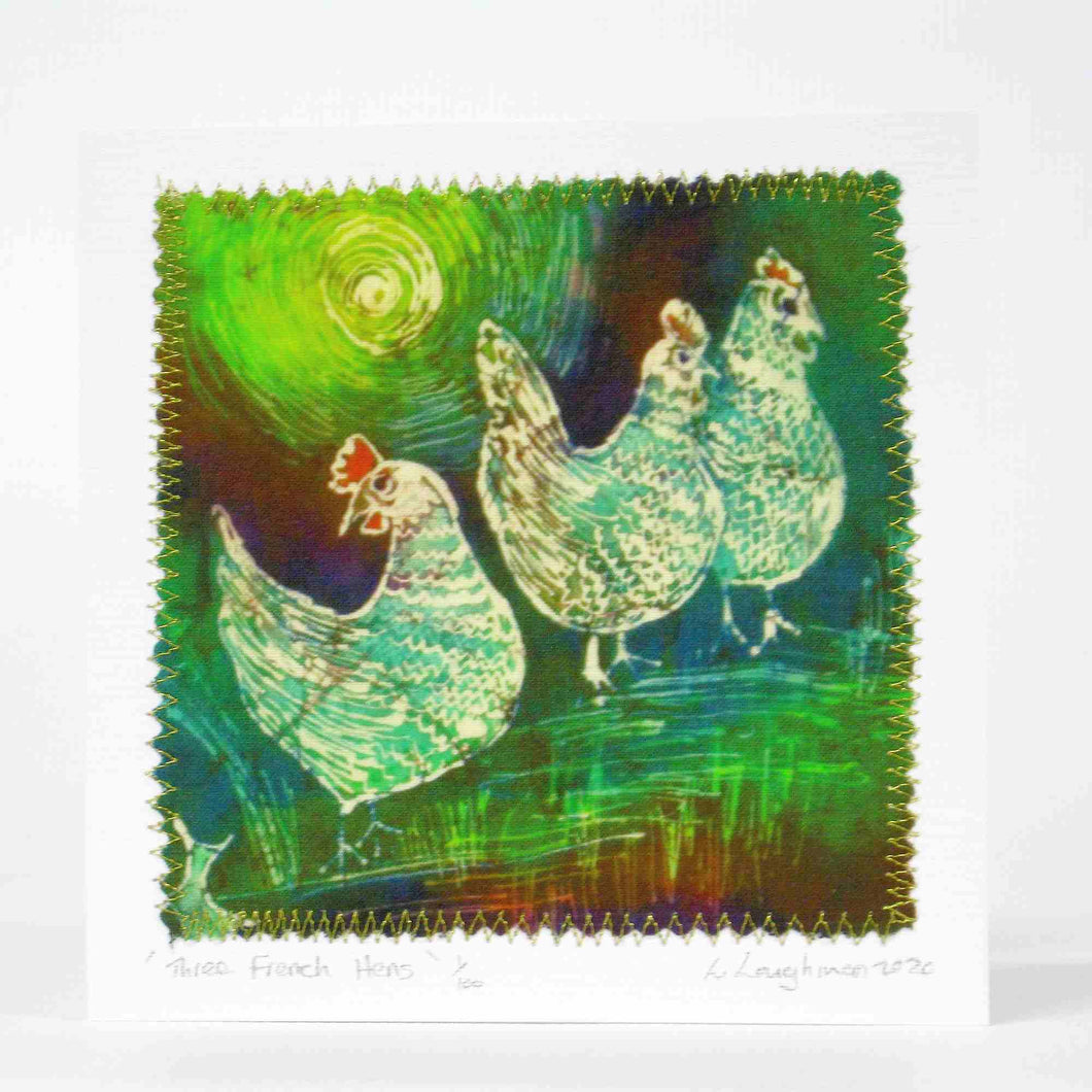 Hand made Card Three French Hens Green