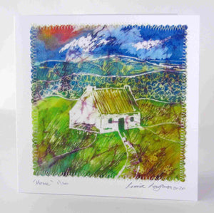 Irish_cottage_painting_from_original_batik_painting_by_Louise_Loughman_a_colourful_picture_in_greens_yellows_blues_with_a_hint_of_pink_red_Perfect_for_framing_a_card _and_a_gift