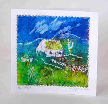 "Load image into Gallery viewer, Hand made Card "" The Blue Green Cottage """