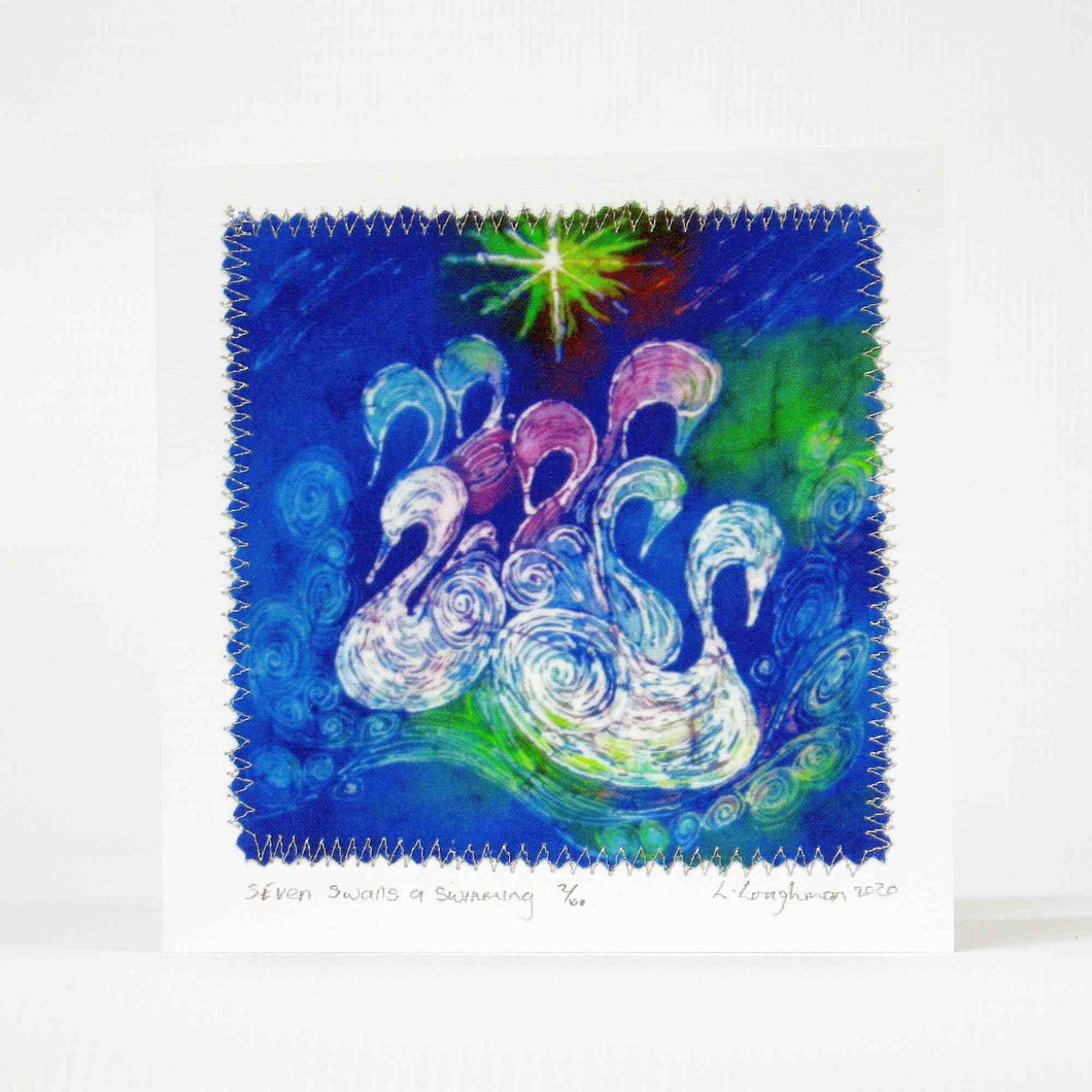 Hand made Card Seven Swans a Swimming
