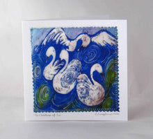 Load image into Gallery viewer, This_hand_made_card_from_an_original_batik_painting_by_Louise_Loughman_is_inspired_by_the_much_loved_Irish_childrens_story+The_Children_of_Lir_a_lovely_card_that_can_be_kept_and_framed