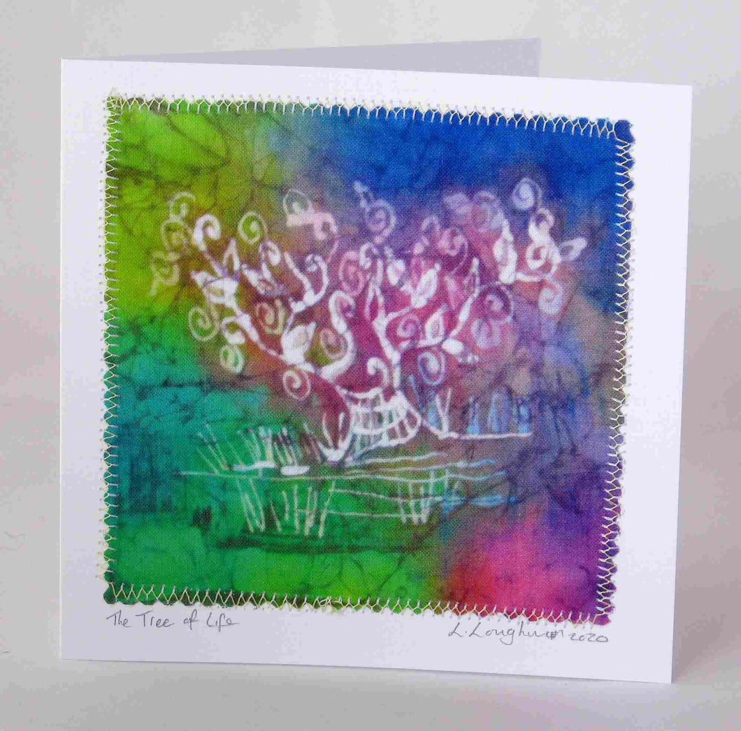 Hand Made Card The Tree of Life Pastel Rainbow