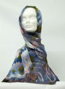 Silk Satin Scarf Celtic Long Tail Tit