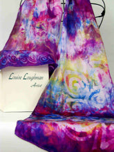 Load image into Gallery viewer, Silk Satin Shawl Celtic Magenta Violet Garden