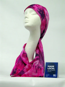 Silk Satin Neck Scarf in Pink and Purple Spirals