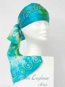 Silk Satin Neck Scarf Aqua Celtic