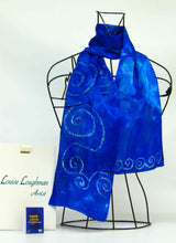 Load image into Gallery viewer, Silk Satin Neck Scarf Blue Celtic