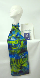 Silk Satin Neck Scarf Blue Tit Celtic