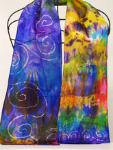 Load image into Gallery viewer, Silk Satin Neck Scarf Celtic Violet Paint Box