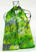 Load image into Gallery viewer, Silk Satin Neck Scarf The Green Finch Colour Celtic