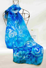 Load image into Gallery viewer, Silk Scarf Aqua Teal Blue Celtic