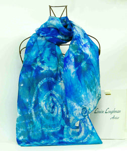 Silk Scarf Aqua Teal Blue Celtic