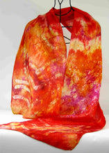 Load image into Gallery viewer, Silk Scarf Fire Celtic Abstract