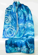Load image into Gallery viewer, Silk Scarf Teal Blue Spirals