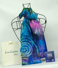 Load image into Gallery viewer, Silk Scarf Spring Blue Celtic