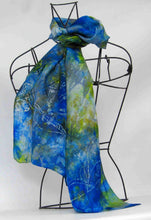 Load image into Gallery viewer, Silk Scarf Blue Tit Blue Bells
